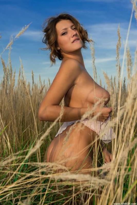 Деревенская баба снимает белье и гуляет среди колосьев голая секс фото и порно фото